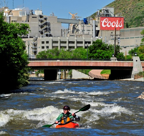 Coors Brewery & kayaker